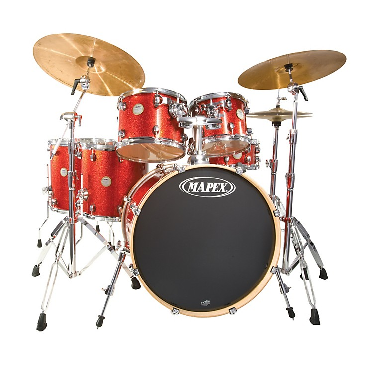 Mapex Meridian Maple 5 Piece Shell Pack with Free Floor Tom Transparent Cherry Red Lacquer