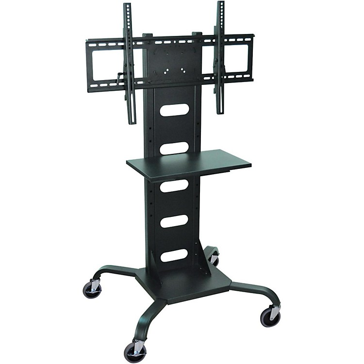 H. Wilson Mobile Flat Panel Display Stand With All-Steel Frame Black Large