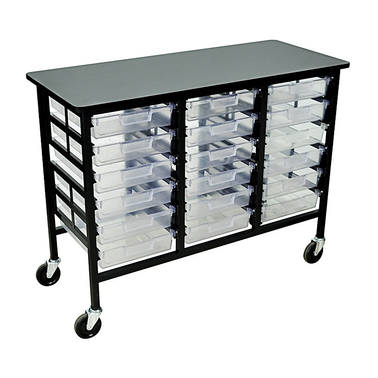 H. Wilson Mobile Workstation/ Storage Unit with 18 Single Storage Trays Clear Trays 34.75