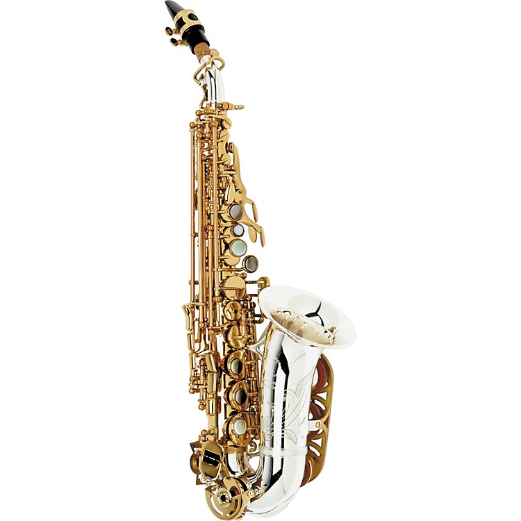 International Woodwind Model 601 Curved Soprano Saxophone Silver Plated Bell and Body with Gold-Plated Keys