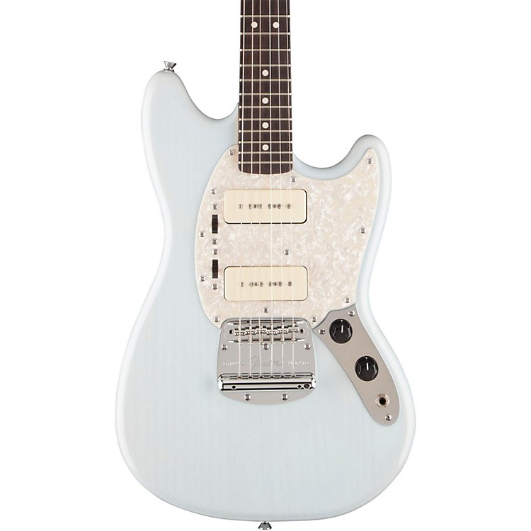 Fender Modern Player Mustang Electric Guitar Transparent Daphne Blue Rosewood Fingerboard