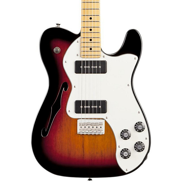 Fender Modern Player Telecaster Thinline Deluxe Electric Guitar 3 Color Sunburst Maple Fretboard