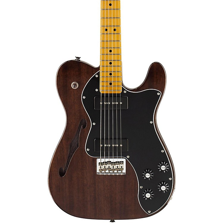 Fender Modern Player Telecaster Thinline Deluxe Electric Guitar Transparent Black Maple Fretboard