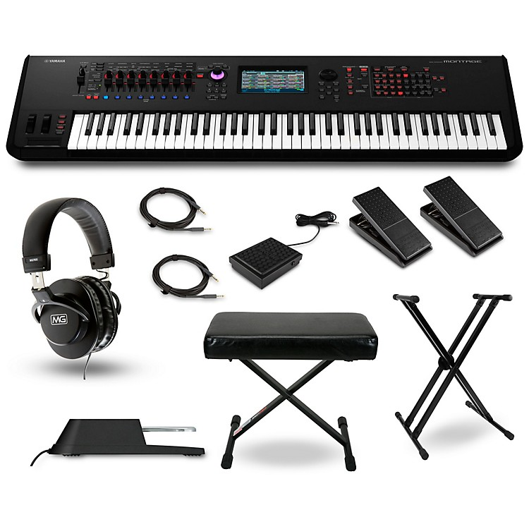 Yamaha Montage 7 76-Key Synthesizer with Stand Pedals Deluxe Keyboard Bench Cables and Headphones