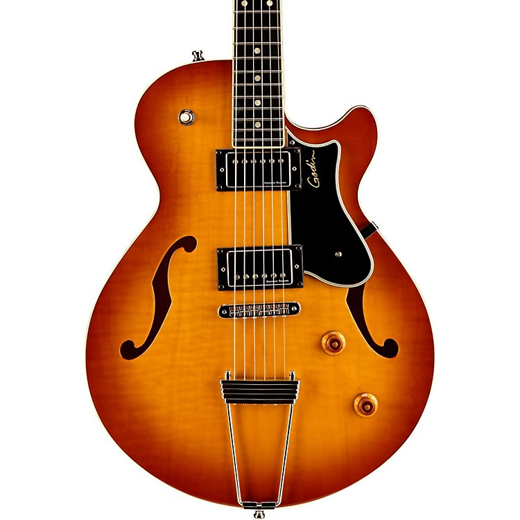Godin Montreal Premiere Flame Top Deluxe Hollowbody Guitar Lightburst Flame