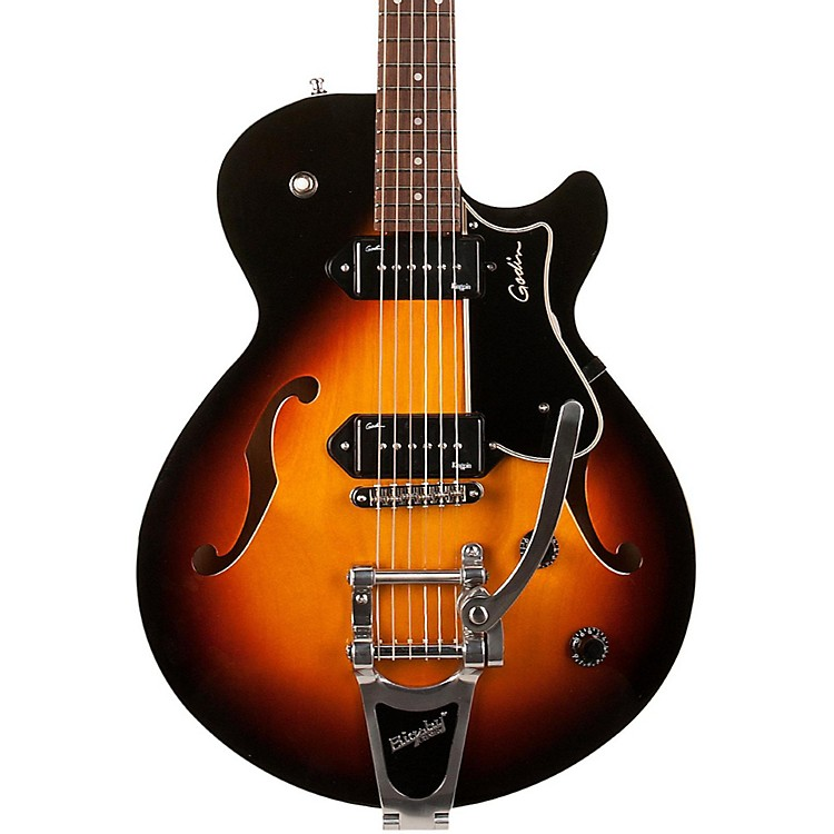 Godin Montreal Premiere Hollowbody Guitar with P90s & Bigsby Sunburst