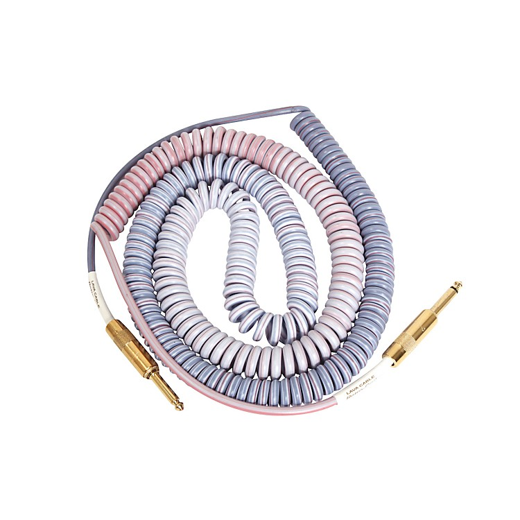 LavaMorph Coil Instrument Cable Straight Silent to StraightReds, Pinks, Brown,  Blue25 Foot