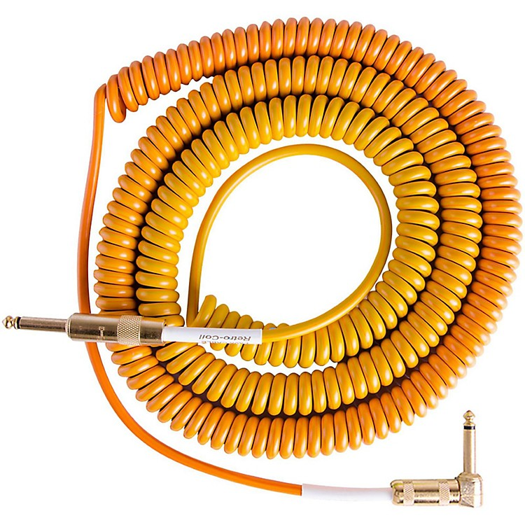 LavaMorph Coil Instrument Cable Straight to Right AngleOranges, Reds, Yellow, Brown25 ft.