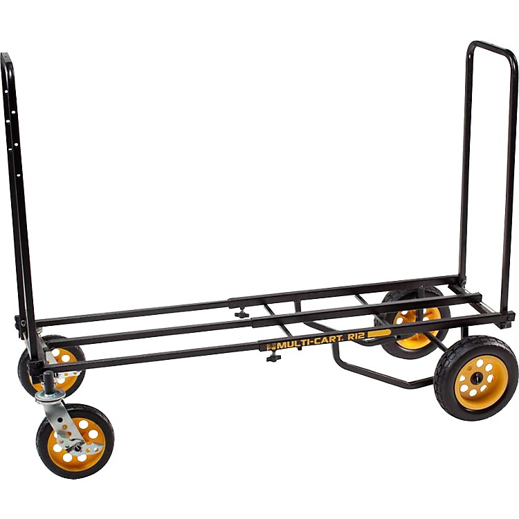 Rock N Roller Multi-Cart 8-in-1 Equipment Transporter Cart Black Frame/Yellow Wheels All-Terrain