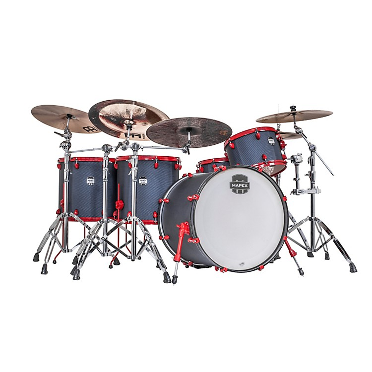 Mapex MyDentity 5 Piece Shell Pack Satin Black Spider Eye with Red Hardware