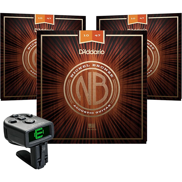 D'AddarioNB1047 Nickel Bronze Extra Light Acoustic Strings 3-Pack with FREE NS Micro Headstock Tuner