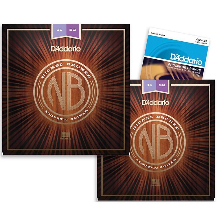 D'AddarioNB1152 Nickel Bronze Custom Light Acoustic Strings 2-Pack with EJ16 Phosphor Bronze Light Single-Pack