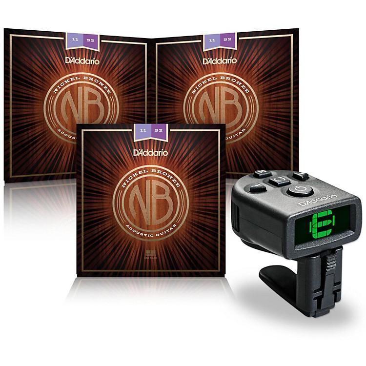 D'AddarioNB1152 Nickel Bronze Custom Light Acoustic Strings 3-Pack with FREE NS Micro Headstock Tuner