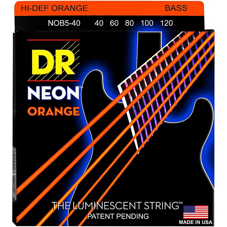 DR StringsNEON Hi-Def Orange Bass SuperStrings Light 5-String