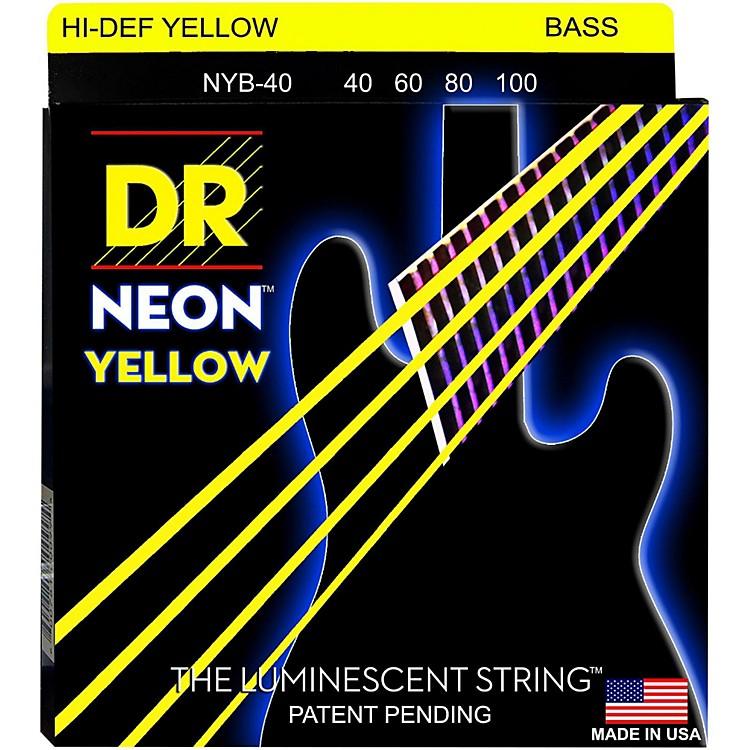 DR StringsNEON Hi-Def Yellow Bass SuperStrings Light 4-String