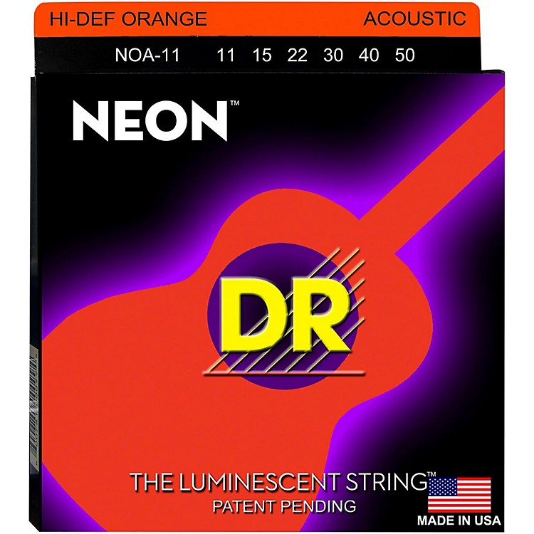 DR Strings NOA-11 NEON Hi-Def Phosphorescent Orange Acoustic Strings Medium-Light