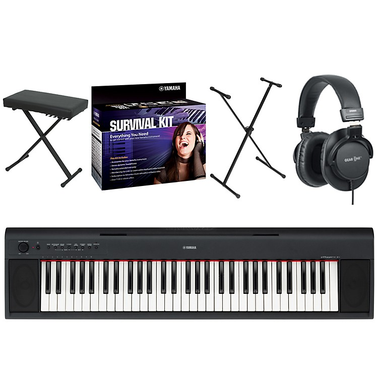 Yamaha NP11 61-Key Digital Piano w/ Yamaha D2 Survival Kit, Bench, Stand, & Headphones