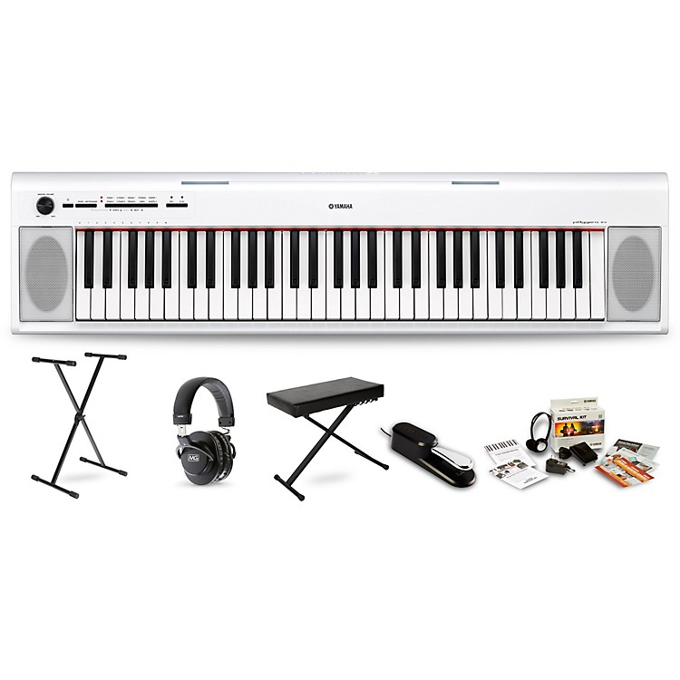 Yamaha NP12 (White) with Headphones, Bench, Stand and Sustain Pedal White