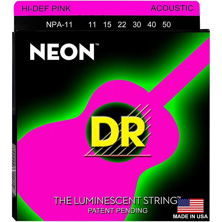 DR StringsNPA-11 NEON Hi-Def Phosphorescent Pink Acoustic Strings Medium-Light