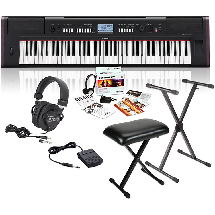 Yamaha NPV80 76-Key Piaggero Portable Digital Piano with Yamaha C2 Survival Kit, Stand, Bench, & Headphones