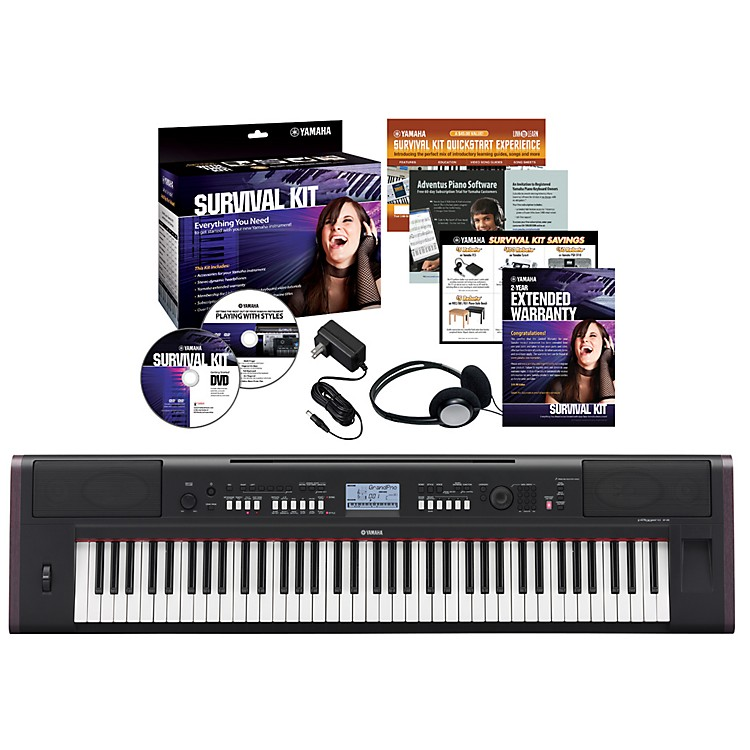 Yamaha NPV80 76-Key Piaggero Portable Digital Piano with Yamaha C2 Survival Kit