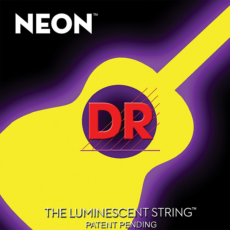 DR Strings NYA-12 NEON Hi-Def Phosphorescent Yellow Acoustic Strings Medium
