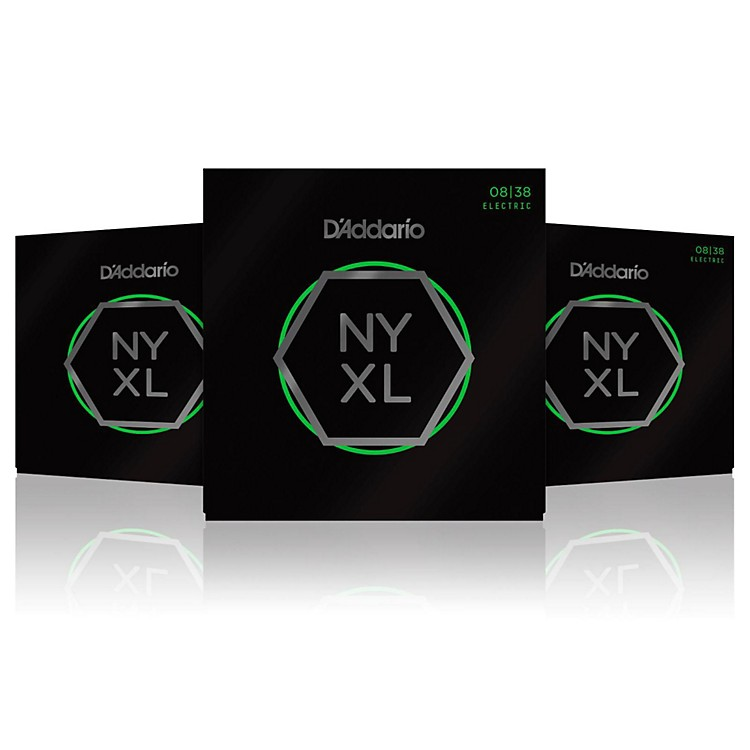 D'Addario NYXL0838 Extra Super Light 3-Pack Electric Guitar Strings