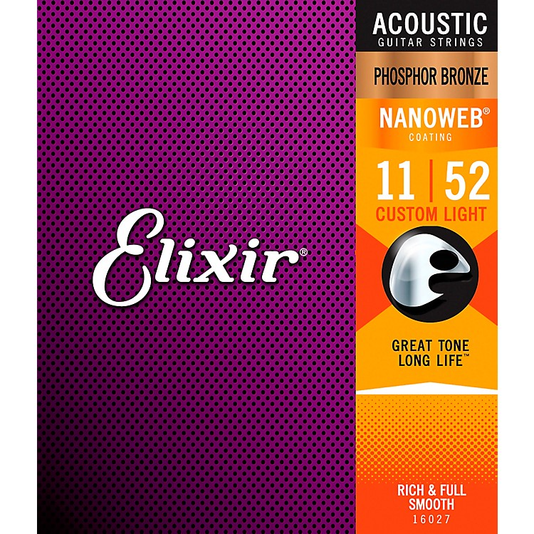 Elixir Nanoweb Custom Light Phosphor Bronze Acoustic Guitar Strings