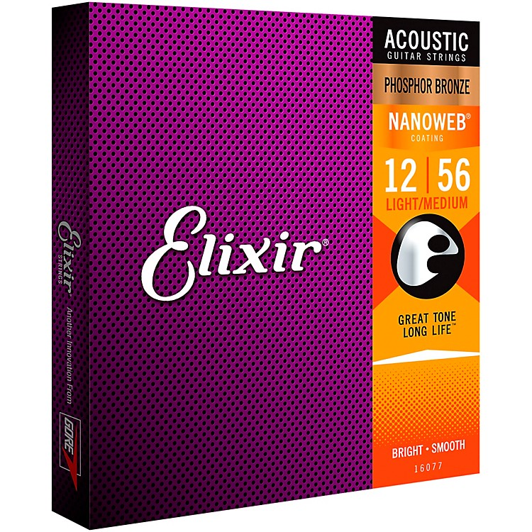 Elixir Nanoweb Light Medium Phosphor Bronze Acoustic Guitar Strings