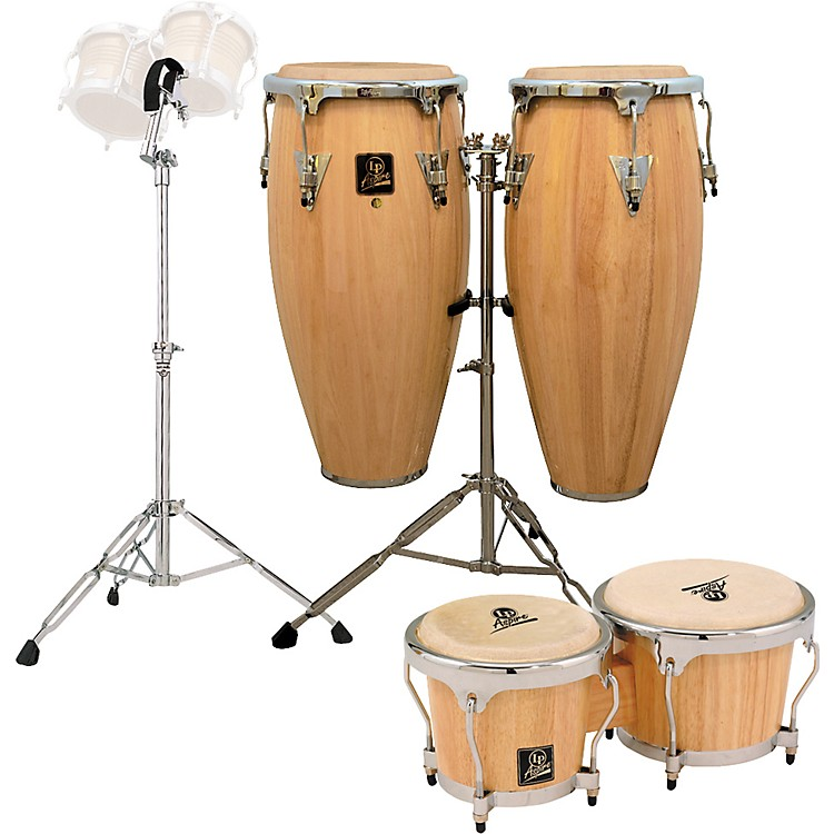 LP Natural Aspire Conga Set with Bongos and Stand