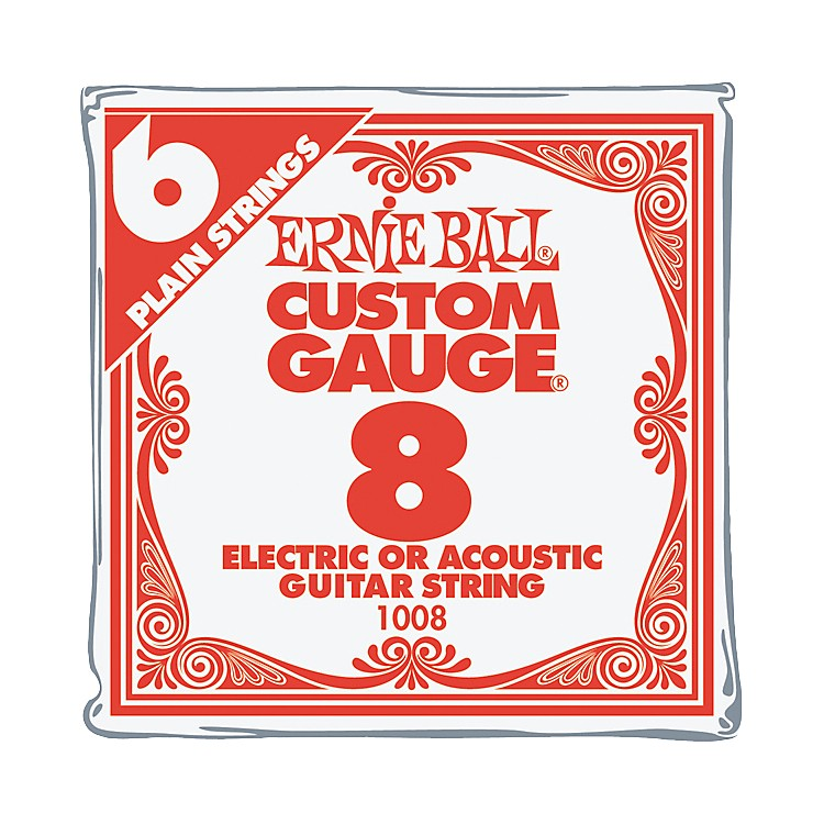 Ernie Ball Nickel Plain Single Guitar String .008 Gauge 6-Pack