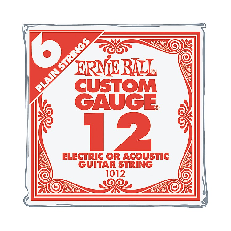 Ernie Ball Nickel Plain Single Guitar String .012 Gauge 6-Pack