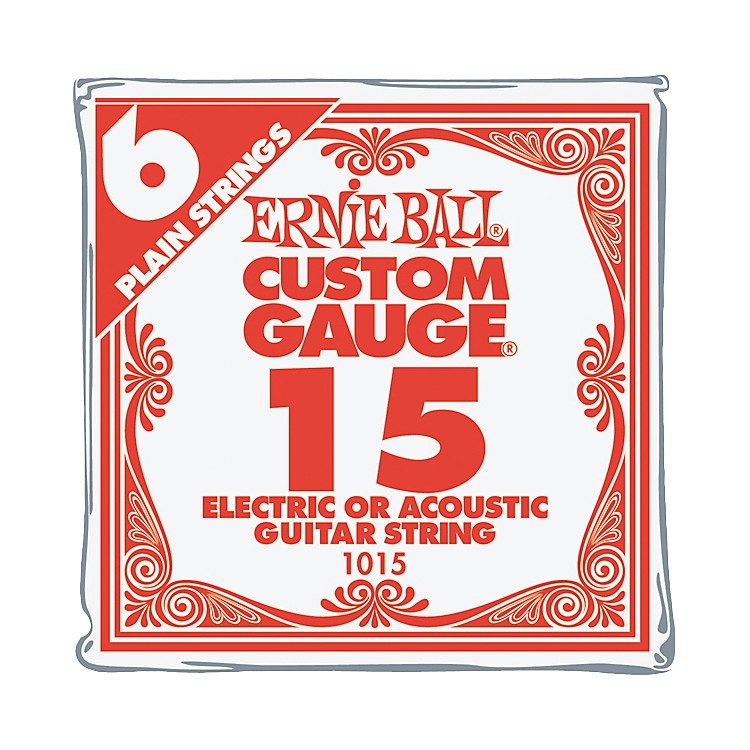 Ernie BallNickel Plain Single Guitar String.015 Gauge6-Pack