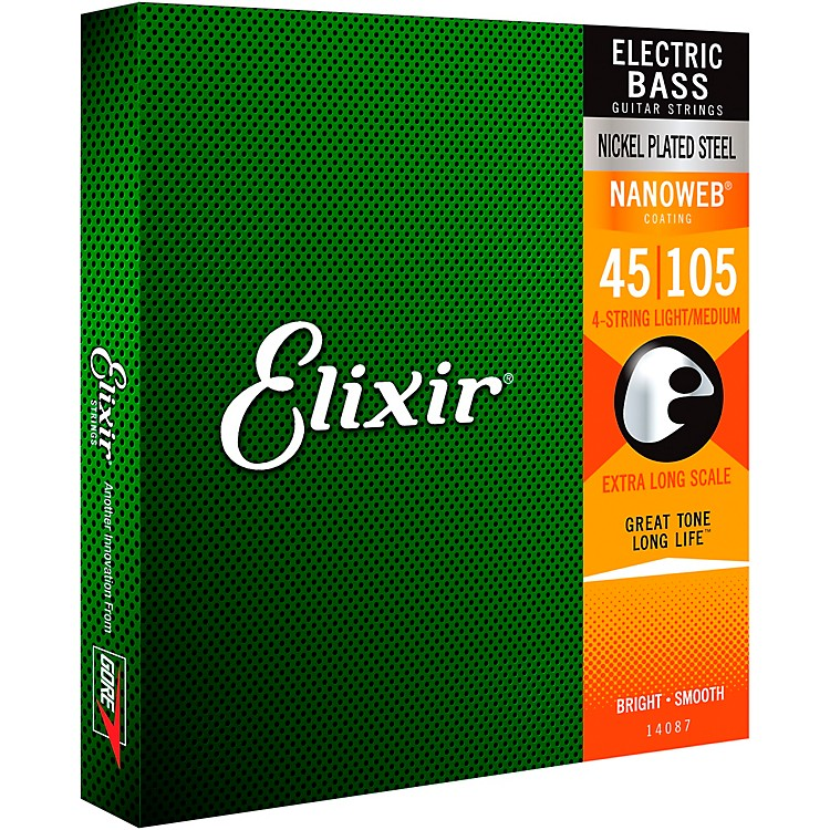 Elixir Nickel-Plated Steel 4-String Bass Strings with NANOWEB Coating, Extra Long Scale, Light/Medium (.045-.105)