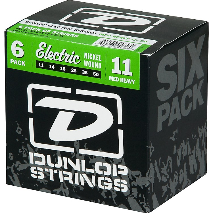 DunlopNickel Plated Steel Electric Guitar Strings Medium Heavy 6-Pack