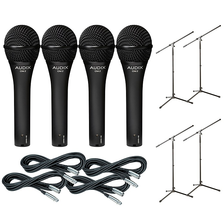 AudixOM-5 Mic with Cable and Stand 4 Pack