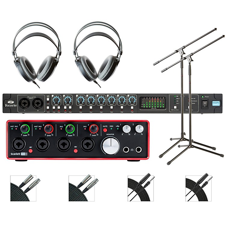 FocusriteOctoPre and 18i18 Recording Bundle With AKG M80mkII Headphones