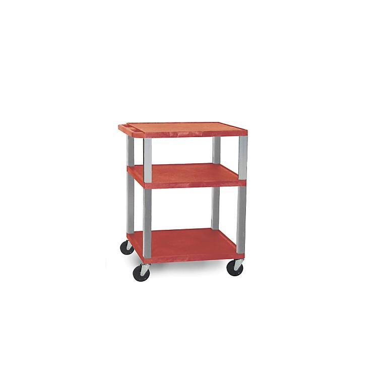 H. Wilson Open Shelf Tuffy Cart Red and Nickel Small