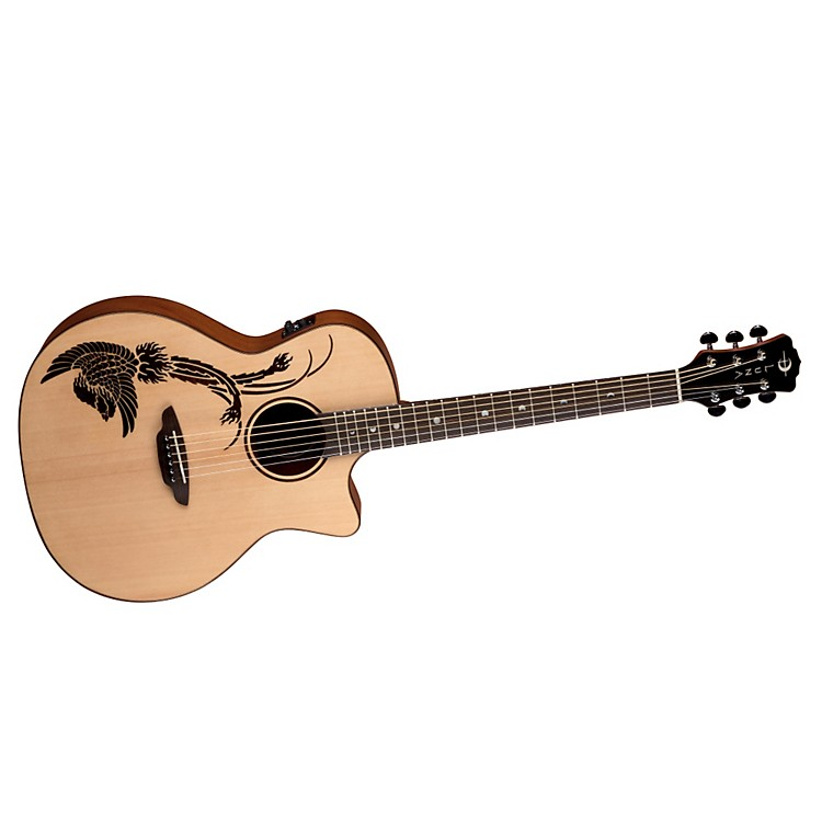 Luna Guitars Oracle Folk Series Phoenix Cutaway Acoustic-Electric Guitar Natural Phoenix Design