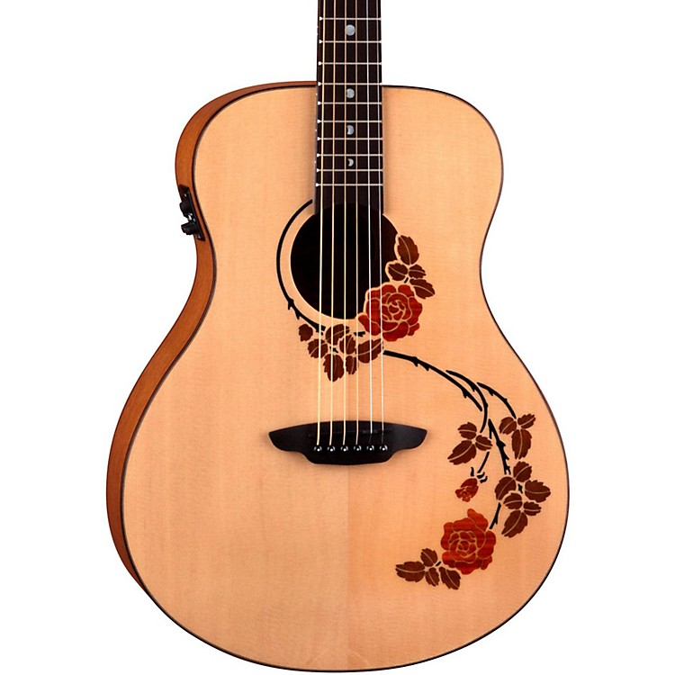 Luna Guitars Oracle Folk Series Rose Acoustic-Electric Guitar Natural Rose Design