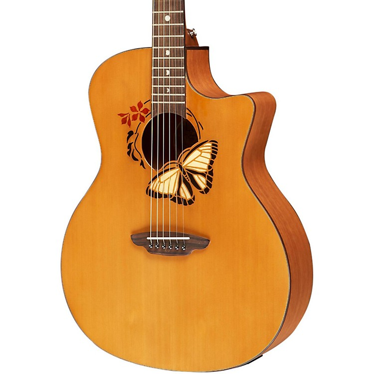 Luna Guitars Oracle Grand Concert Series Butterfuly Acoustic-Electric Guitar Natural Butterfly Design