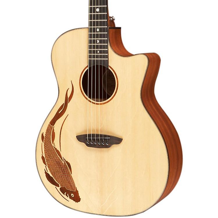 Luna GuitarsOracle Grand Concert Series Koi Acoustic-Electric GuitarNaturalKoi Design