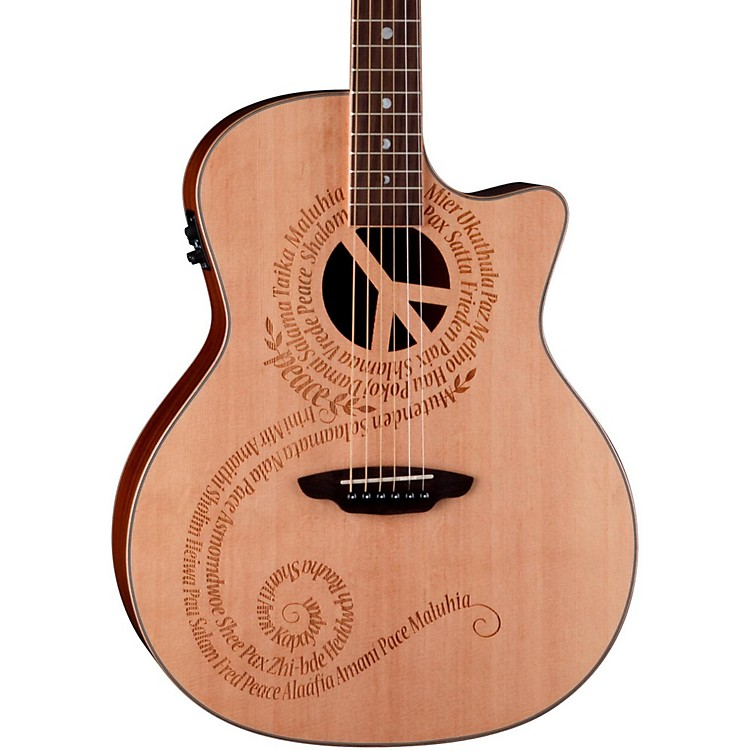 Luna Guitars Oracle Grand Concert Series Peace Acoustic-Electric Guitar Natural Peace design
