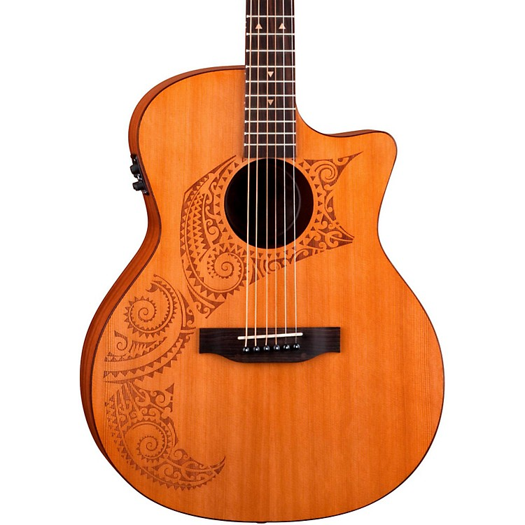 Luna Guitars Oracle Grand Concert Series Tattoo Acoustic-Electric Guitar Natural Tattoo Design