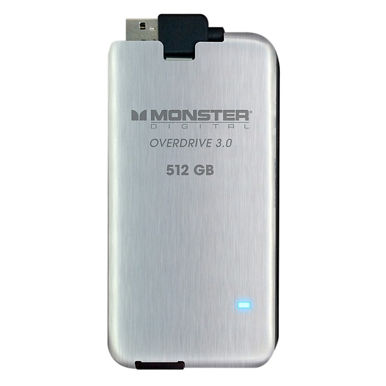 Monster Overdrive 3.0 SSD 512GB USB3.0, 250MB/s Brushed Stainless Steel