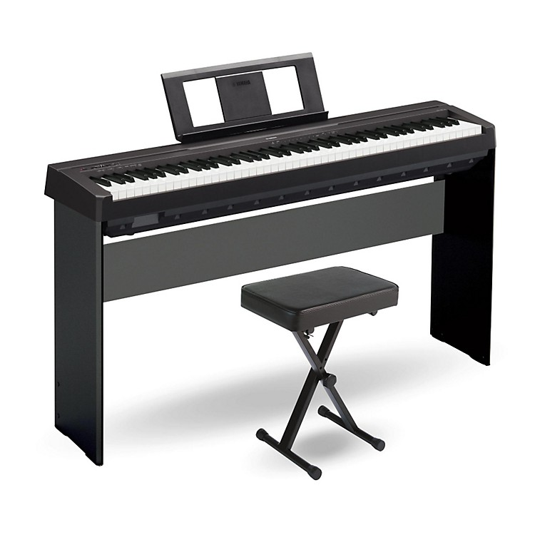 Yamaha p 45 88 key weighted action digital piano black with wood stand and bench music123 for Yamaha fully weighted keyboard