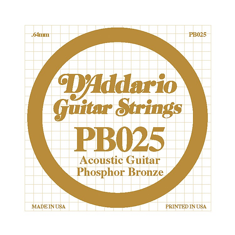 D'Addario PB025 Phosphor Bronze Single Acoustic Guitar String  Single