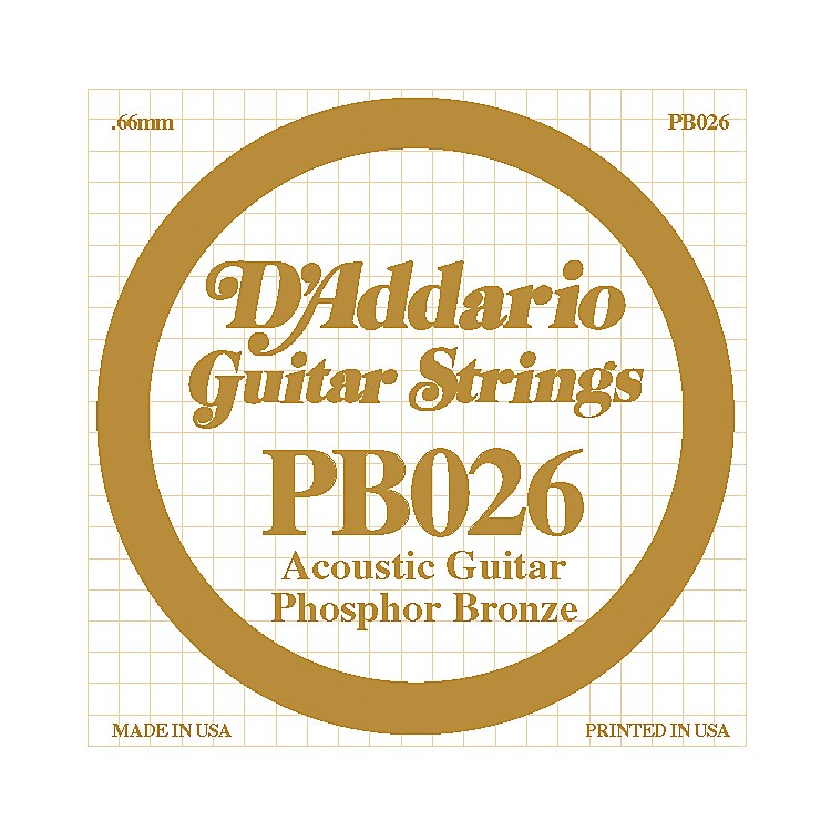 D'Addario PB026 Phosphor Bronze Single Acoustic Guitar String  Single