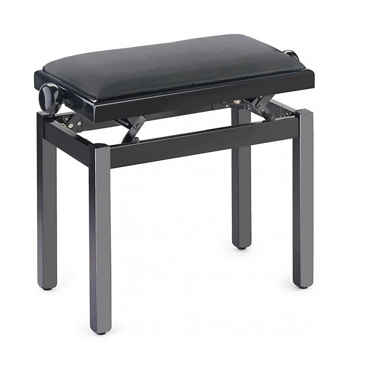 Musician's Gear PB39 Adjustable-Height Piano Bench Black Velvet Top Black Polished Finish