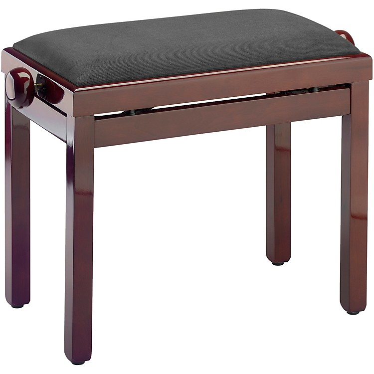 Musician's Gear PB39 Adjustable-Height Piano Bench Black Velvet Top Mahogany Polished Finish